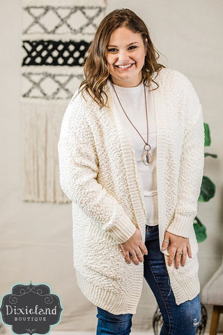 Cream Popcorn Sweater Cardigan (1X-3X)