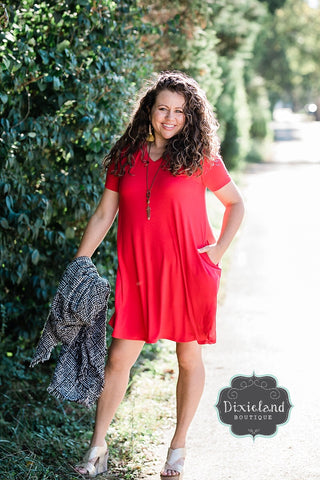 Ruby Red V-neck T-shirt Dress