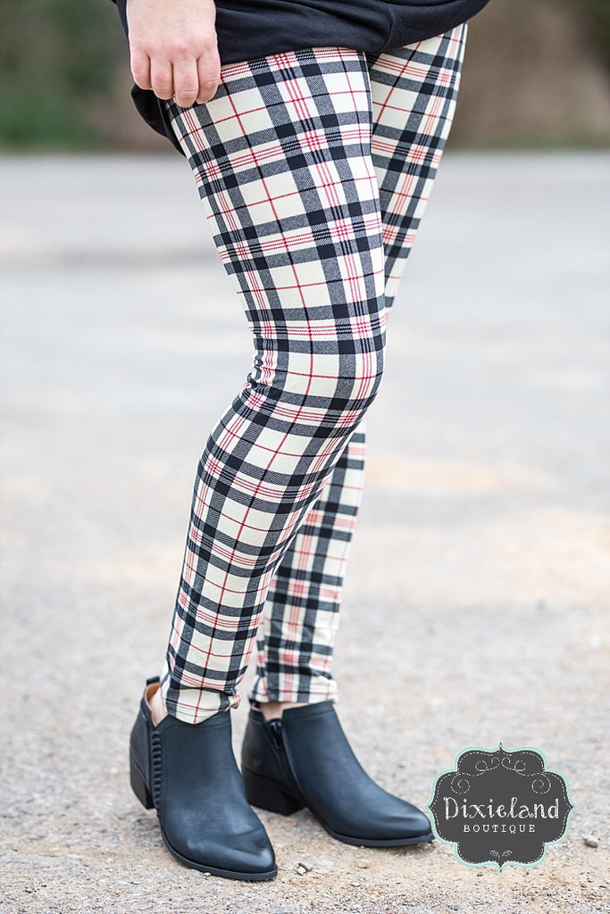 Cream British Plaid Leggings
