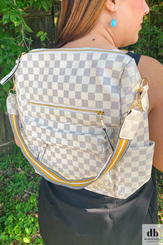Gray Checkered Backpack