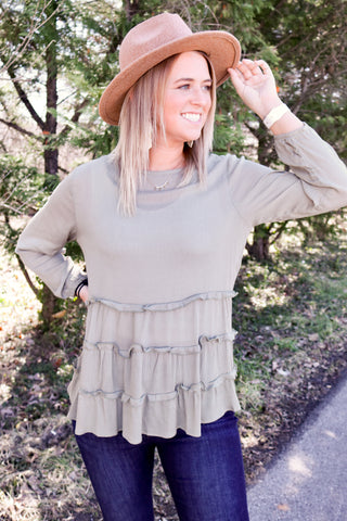 Olive Ruffled Tiered Top