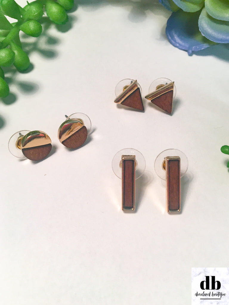 Stud Earring Trio in Brown