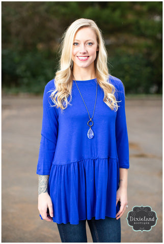 Mid Blue 3/4 Sleeve Peplum Top