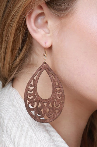 Wood Laser Cut Earrings (New Colors)