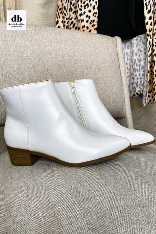 Kimbo White Ankle Booties