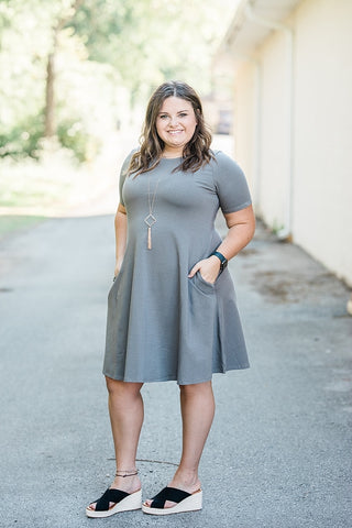 Mid Gray Cotton Blend T-shirt Dress