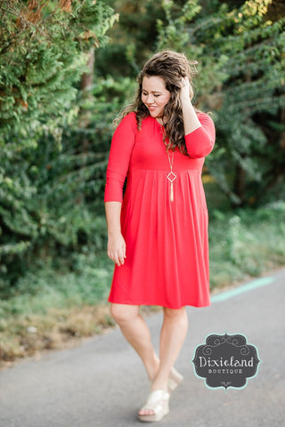 Ruby 3/4 Sleeve Pleated Dress