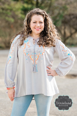 Light Gray Embroidered Blouse