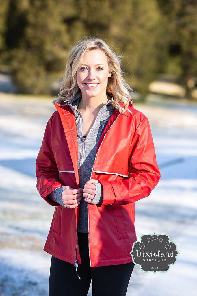 Monogrammed Charles River Red New Englander Rain Jacket