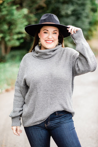 Gray Lantern Sleeve Sweater
