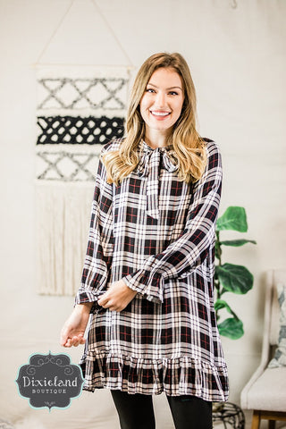 Plaid Pastimes Dress- Black & White
