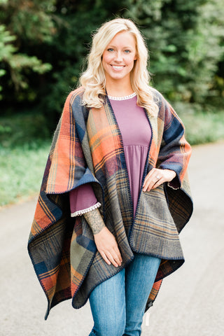 Jewel Tone Plaid Poncho