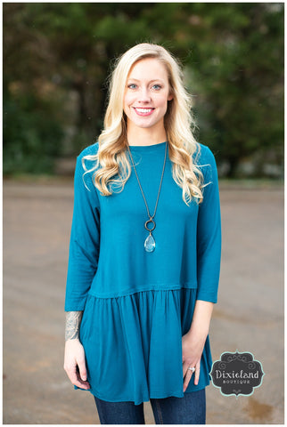 Teal 3/4 Sleeve Peplum Top