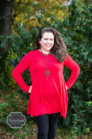 Long Sleeve Ruby Red Tunic