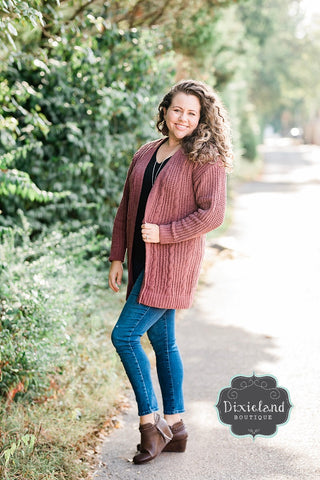 Woodland Whispers Dark Mauve Cardigan