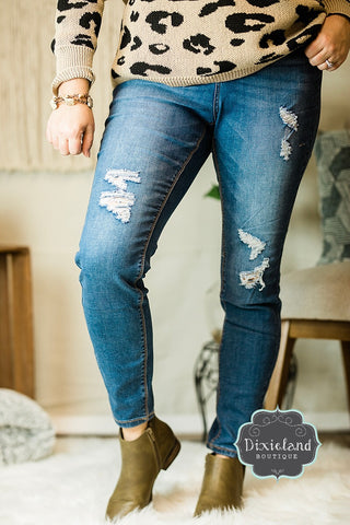 {Plus} Wax Brand High Waist Distressed Jeans
