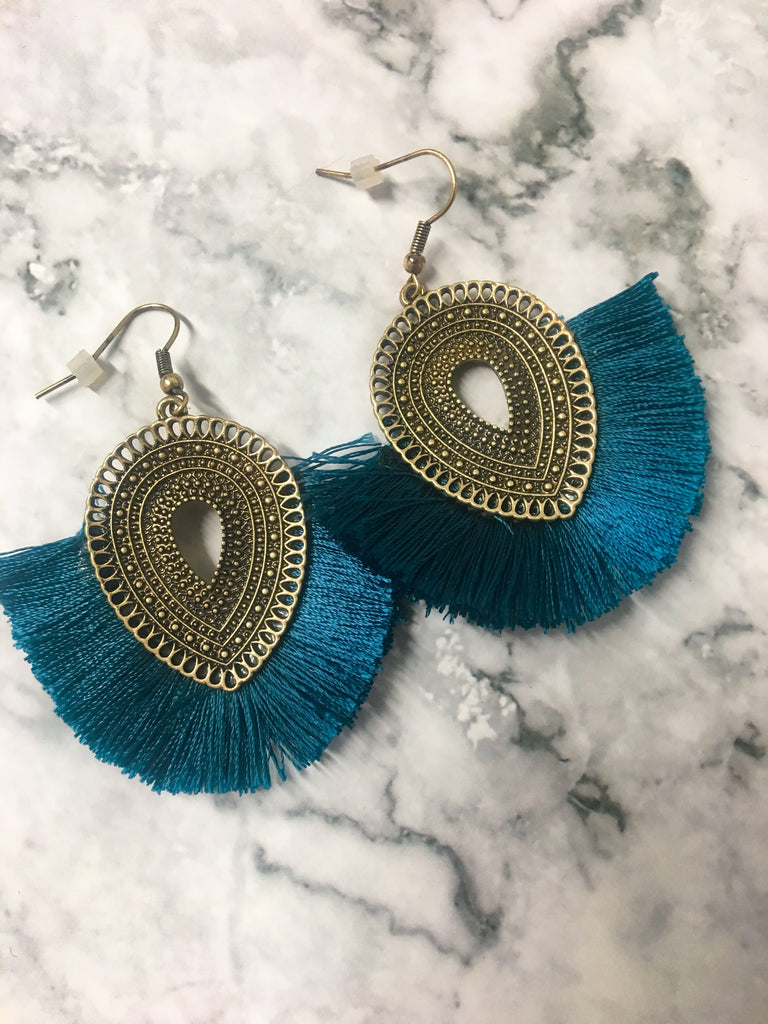 Fan Fringe Earrings- Teal