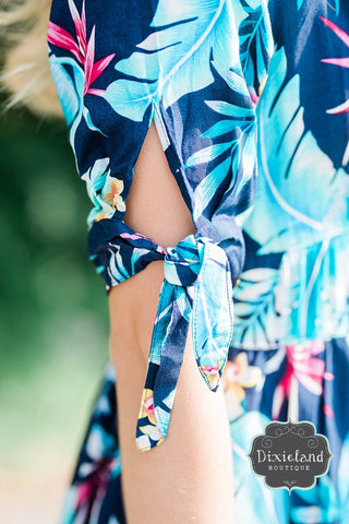 Navy Tropical Print Dress