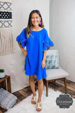 Royal Blue Pom Pom Dress