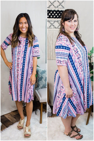 Navy & Pink Tunic Dress
