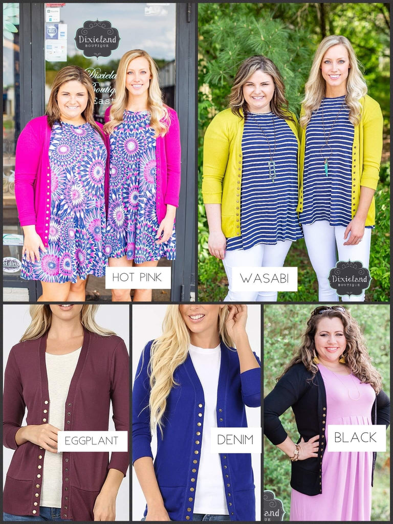Snap Cardigans with 3/4 Length Sleeves (Choose Color)