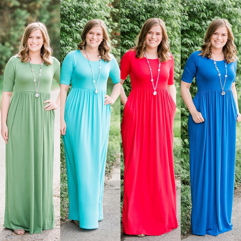Empire Waist Maxi Dress (Choose Color)