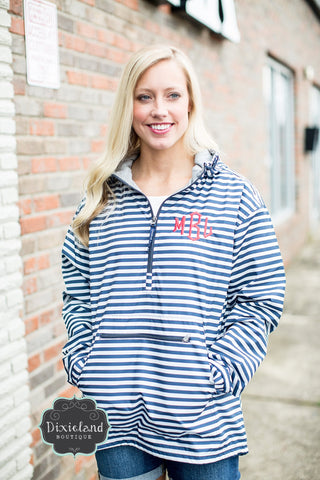 Charles River Navy Striped Chatham Anorak