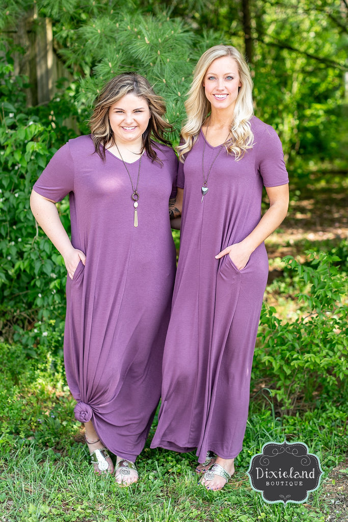 {Plus} Eggplant Maxi T-shirt Dress