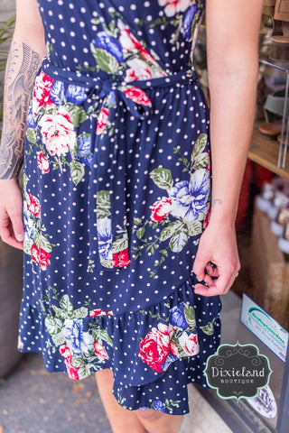 Navy Polka Dot & Floral Dress