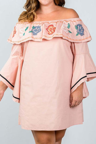 {Plus} Light Pink Embroidered Dress