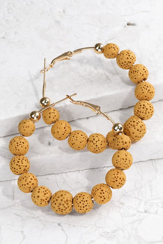 Mustard Lava Bead Hoop Earrings