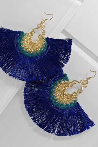Navy Fan Fringe Earrings