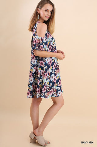 Navy Floral Open Shoulder Dress