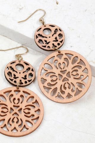 Peach Laser Cut Wood  Earrings