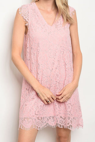 Carnation Pink Lace Dress