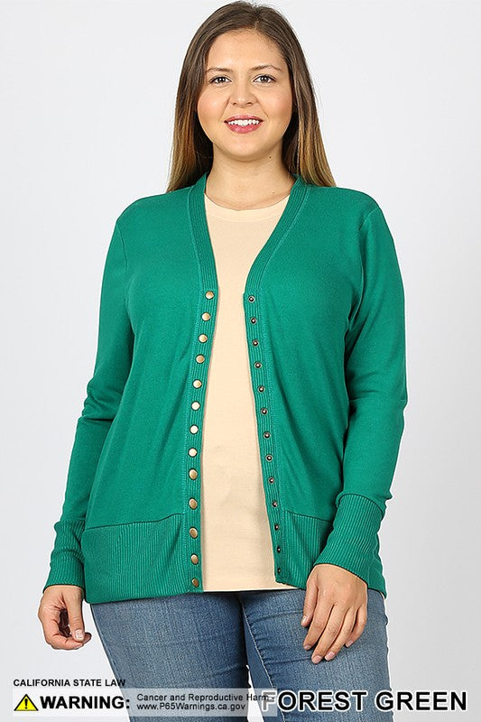 Forest Green Snap Cardigan