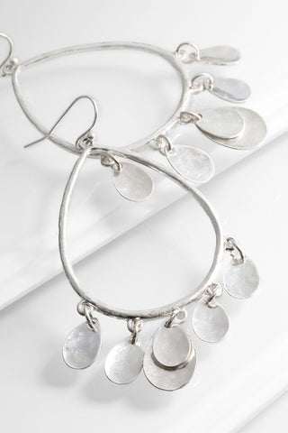 Silver Hoop Earrings with Teardrop Dangles