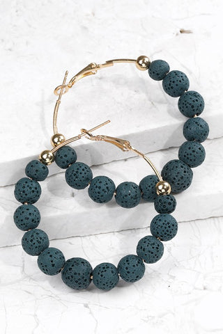 Teal Lava Bead Hoop Earrings