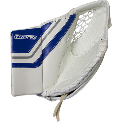 TronX MT2 Senior Hockey Goalie Catcher (White/Blue)