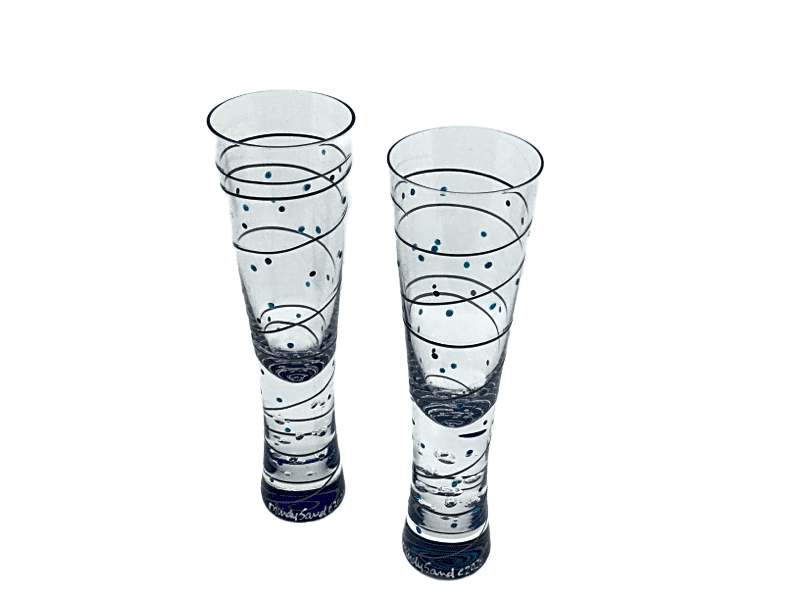 Mindy Sand Champagne Glasses - Pewt/Gem
