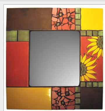 Artisan Tile Mirror Sunflowers
