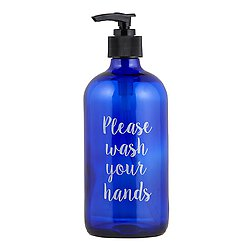 Glass Soap Bottle - Please Wash Your Hands