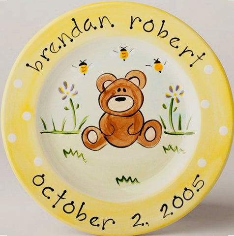 Personalized Ceramic Teddy Bear Plate