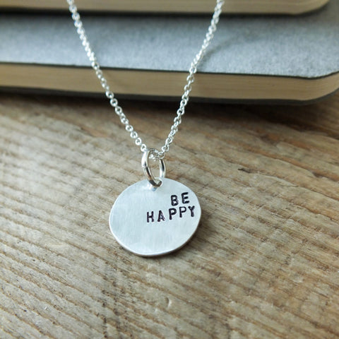 "Inspirational Sterling Pendant ""Be Happy"""