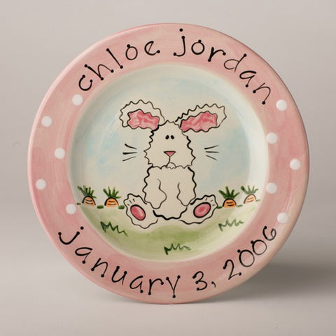 Personalized Ceramic Bunny Plate