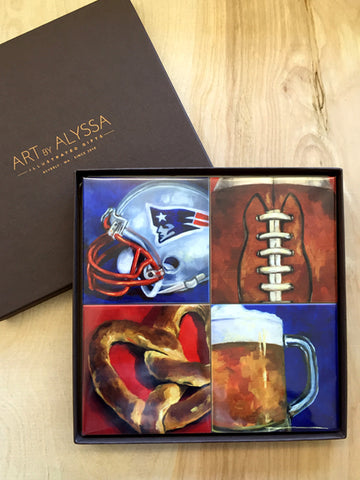 Coaster Set Patriots Football