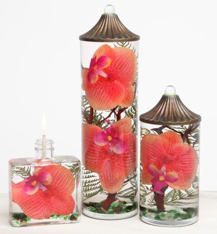 "Lifetime Oil Burning ""Coral Orchid"" Theme Candles"