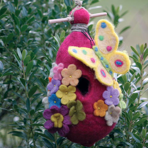 "Felted Outdoor ""Butterfly"" Birdhouse"