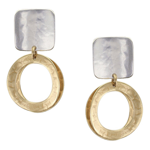 Marjorie Baer Concave Square with Wide Rings Earring