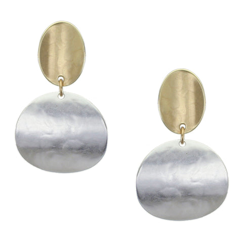 Marjorie Baer Curved Oval with Curved Disc Earring